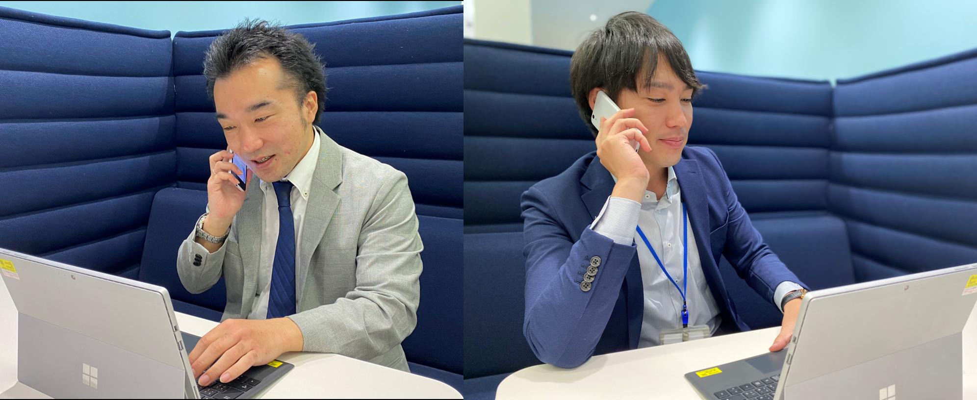オンライン商談を行う登坂さん、小串さん